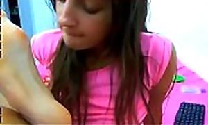 Gorgeous Italian Teen Feet Self Worship Fixing 2 big Bristols webcam