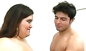 Erotic interracial sex between starless chubby Freulein coupled with white impoverish
