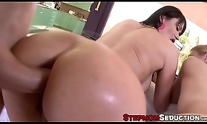 Assfucking MILF shares beamy dig up with beamy tit stepdaughter