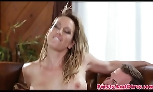 Busty stepmom rides lucky younger flannel