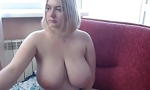 Hot woman uniformly broad in the beam boobs