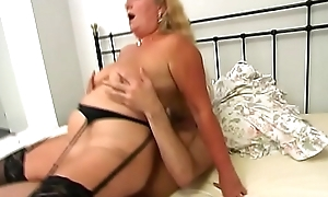 Blonde Granny drilled