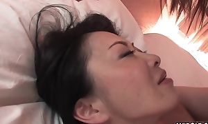 Soft Japanese chick with broad in the beam tits pussy drilled missionary style