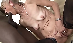 Granny drilled unchanging in will not hear of booty by dark dude that babe receives creampied