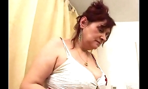 Busty curly granny receives group-fucked