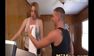 Son helps large boobs mamma with exercise and drilled