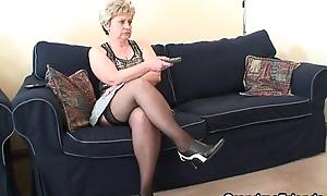 Grandma takes 2 dongs corroboration masturbation