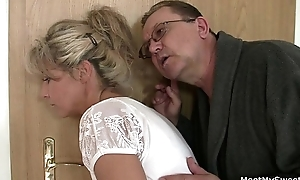 She rides his superannuated ramrod after muff diving