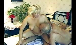Hairy granny enjoys 3some