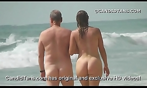 Blue MILF mom with a obese pain in the neck walking naked on public beach!