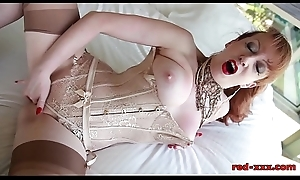 British redhead Red masturbating in the matter of advance of the opera-glasses