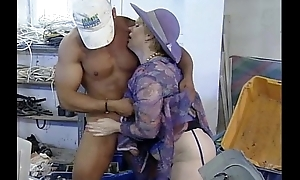Grown-up mommy baptize enticing engine- driver man fucking to an obstacle fore works