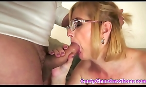 Deepthroating granny possessions anally fingered