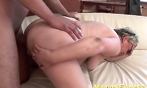 Plump granny doggy drilled