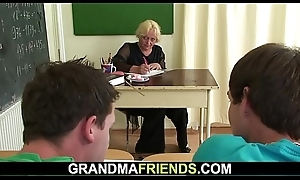 60 yo granny teacher is pounded by duo guys