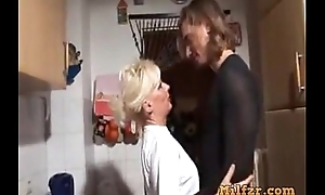 Blonde german mamma together with son fucked