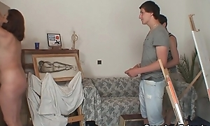 Granny pleases 2 young painters