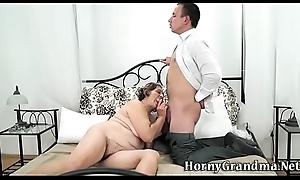 Big grandma takes cum