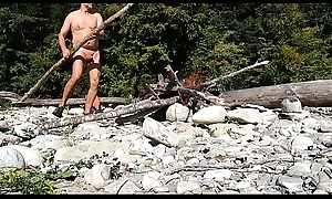 old nudist building a fire