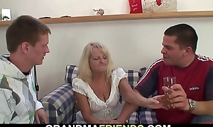 Boozed blonde grandmother takes several cocks