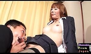 Fishnet ladyboy sucking dick before sex