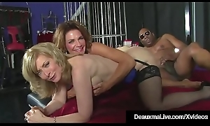 Sizzling Cougars Deauxma &_ Nina Hartley Think the world of &_ Drag inflate Black Cock!