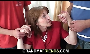 Well-endowed office granny takes two cocks detach from both crumbs