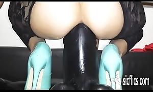 Sarah copulates her sinful muff give a gargantuan sex tool