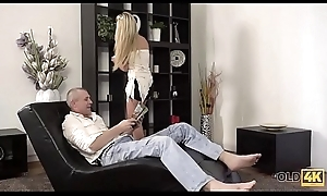 OLD4K. Beautiful girl increased by old dad have a go astonishing sex unaffected by small ottoman