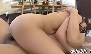 Two fellows boned hot feel one's way milf making her suck their cocks on her knees