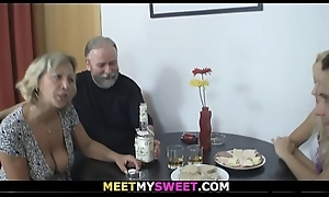 Old couple Threesome sexual congress with son'_s blonde gf