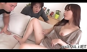 Bleat asian milf relative to dildo pampers her fat fur woman of easy virtue erection it wringing wet