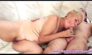 European grandma spoon fucked before cowgirl
