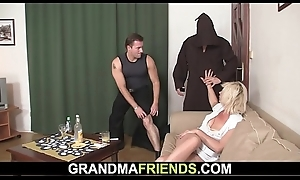 Grey fair-haired mommy takes transcribe banging