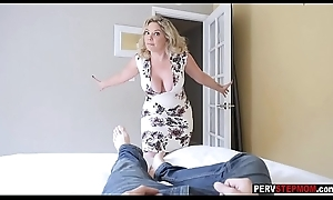 Risible MILF stepmom sucks a stepsons load of shit added to show him