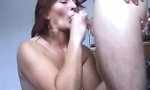 Tattooed Cinoy gets on her knees connected with all right cock in her mouth