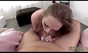 Thick dominate blonde MILF Vicky Vixen deepthroating a big cock