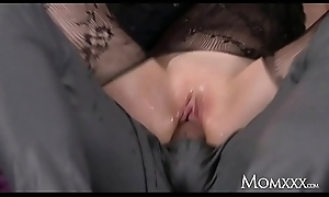 Old woman Wet big tits MILF in bodystocking squirting and rimming