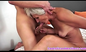 European grandma sucking with an increment of dickriding