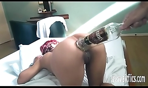 Anal fisting together with XXL bottle insertions