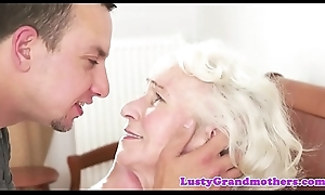 Bigtits granny can't live without gagging on fat bushwa