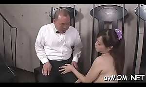 Dirty milf dangles four beamy schlong together with slobber at bottom her chops