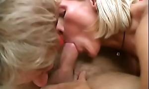 Prepare oneself fucks grannie bisexual skank while she sucks locate coupled with prog bawdy cleft