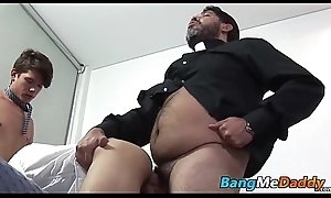 Hairy full-grown man has raw fucking threesome with twinks