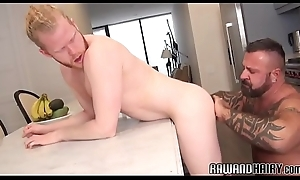 Barebacked cub cums while doggystyled