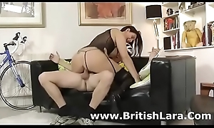 Well done British milf with regard to stockings copulates amateur
