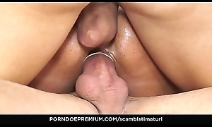 SCAMBISTI MATURI - Lay grown-up orgy with hot aggravation fucking for brunette Italian taking 4 on 1